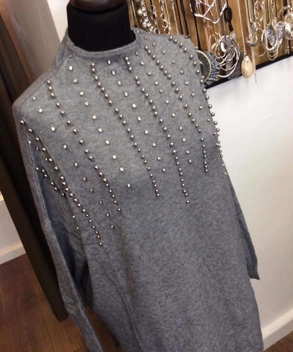 d995535a Home / Dresses / Sequin Jumper Dress with Silver Pearl Details – One Size  Fits All